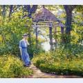 Girl in a wickford garden new england