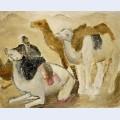 Kamele und beduinen in der w ste
