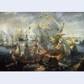 The explosion of the spanish flagship during the battle of gibraltar april attributed