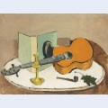 Still life with guitar and pipe