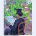 Desire dehau reading a newspaper in the garden 1890