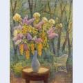 Vase of flowers in a garden