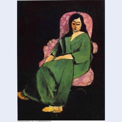 Lorette in a green robe against a black background 1916