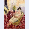Seated figure striped carpet 1920