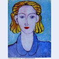 Young woman in a blue blouse portrait of l n delektorskaya 1939
