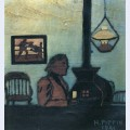Man seated near stove