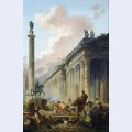 Imaginary view of rome with equestrian statue of marcus aurelius the column of trajan and a