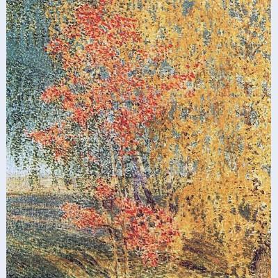 Autumn rowan tree and birches