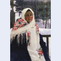 Girl in russian shawl