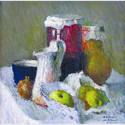 Jam jar and apples