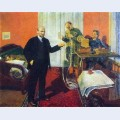 Lenin dictating a telegram at dawn in