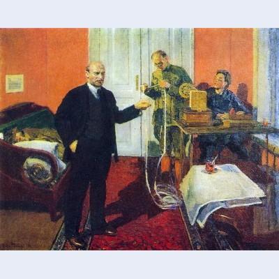 Lenin dictating a telegram at dawn in