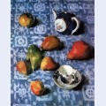 Pears on a blue tablecloth