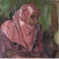 Portrait of a woman wearing a pink hijab