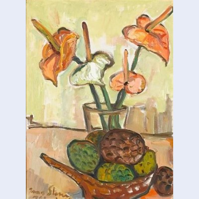 Still life with anthuriums and fruit