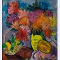 Still life with dahlias and fruit