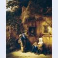 Traveller at a cottage door