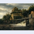 Two undershot watermills with men opening a sluice