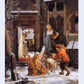 Winter city view with children