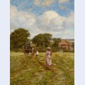 A woman hayraking