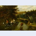 A wooded landscape with peasants in a horse drawn cart travelling down a flooded road