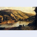 An extensive river landscape probably derbyshire with drovers and their cattle in the