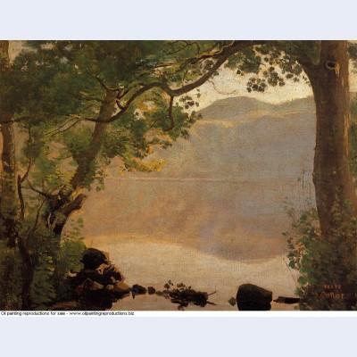 Lake nemi seen through trees 1843