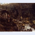 Lormes a waterfall with a standing peasant spinning wool 1842