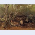 Lormes shepherdess sitting under trees beside a stream 1842