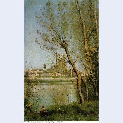 Mantes view of the cathedral and town through the trees 1869