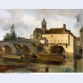 Moret sur loing the bridge and the church 1822