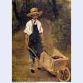 Octave chamouillet pushing a wheelbarrow in a garden