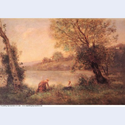 Peasant from ville d avray and her child among two trees at the bank of a pond