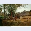Peasants under the trees at dawn morvan