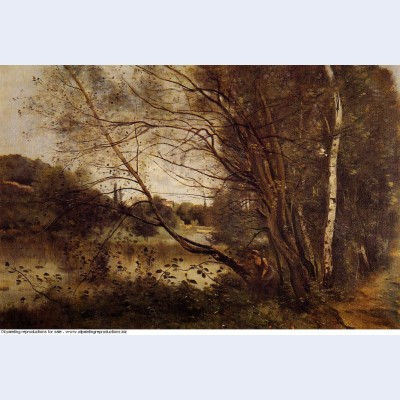 Pond at ville d avray with leaning trees 1873