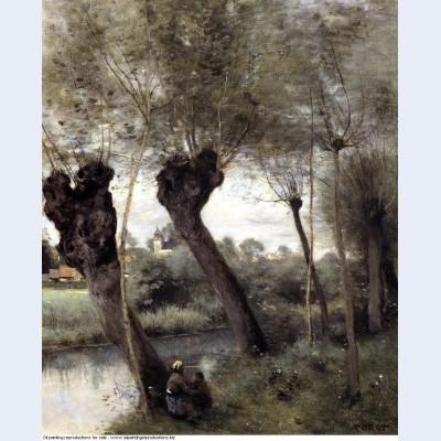 Saint nicholas les arras willows on the banks of the scarpe 1872