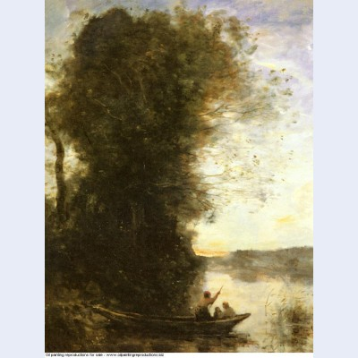 The boatman left the bank with a woman and a child sitting in his boat sunset