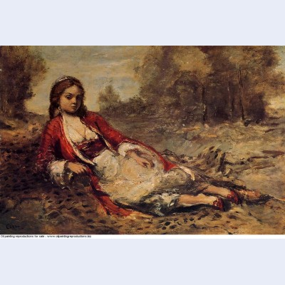 Young algerian woman lying on the grass 1873