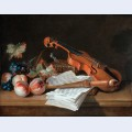 Still life with a violin a recorder books a portfolio of sheet of music peaches and grapes on a