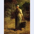 Woman carrying firewood and a pail