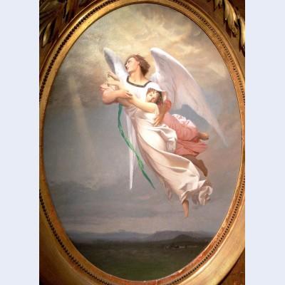 A soul taken away by an angel