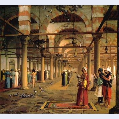 Public prayer in the mosque of amr cairo