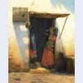 Womanof cairo at her door