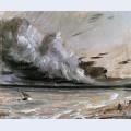 Coast scene with breaking cloud sun