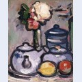 Still life teapot with flowers and fruit