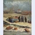 Barco e pescadores