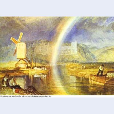 Arundel castle with rainbow