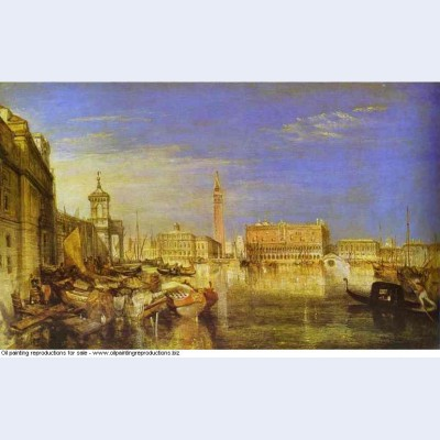 Bridge of sighs ducal palace and custom house venice canaletti painting