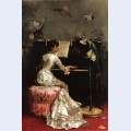 Young woman at piano