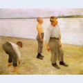 Boys throwing pebbles into the river